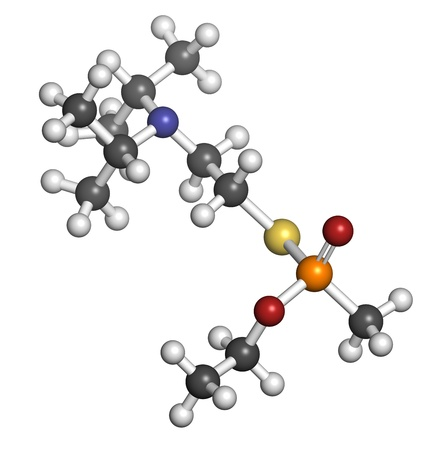 VX nerve agent, molecular model. VX is a chemical weapon, classified as a weapon of mass destruction. Atoms are represented as spheres with conventional color coding: hydrogen (white), carbon (grey), oxygen (red), nitrogen (blue), sulfur (yellow), phospho Stock Photo - 19617591