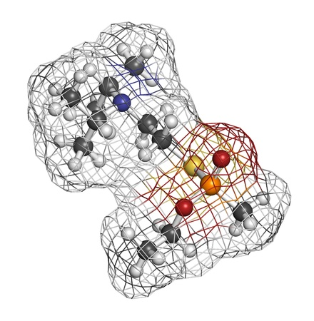 wmd: VX nerve agent, molecular model. VX is a chemical weapon, classified as a weapon of mass destruction. Atoms are represented as spheres with conventional color coding: hydrogen (white), carbon (grey), oxygen (red), nitrogen (blue), sulfur (yellow), phospho
