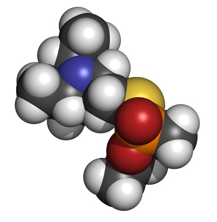 VX nerve agent, molecular model. VX is a chemical weapon, classified as a weapon of mass destruction. Atoms are represented as spheres with conventional color coding: hydrogen (white), carbon (grey), oxygen (red), nitrogen (blue), sulfur (yellow), phospho Stock Photo - 19617622