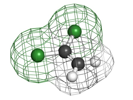 monomer: 1,1-dichloroethene (DCE) polyvinylidene chloride (PVDC) building block. Atoms are represented as spheres with conventional color coding: hydrogen (white), carbon (grey), chlorine (green). Wireframe surface.