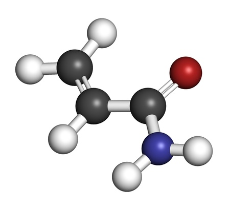 electrophoresis: acrylamide molecule, polyacrylamide building block and heat-generated food pollutant. Atoms are represented as spheres with conventional color coding: hydrogen (white), carbon (grey), oxygen (red), nitrogen (blue). Stock Photo