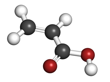 monomer: acrylic acid molecule, polyacrylic acid (PAA, carbomer) building block. PAA is used in the production of disposable diapers. Atoms are represented as spheres with conventional color coding: hydrogen (white), carbon (grey), oxygen (red).