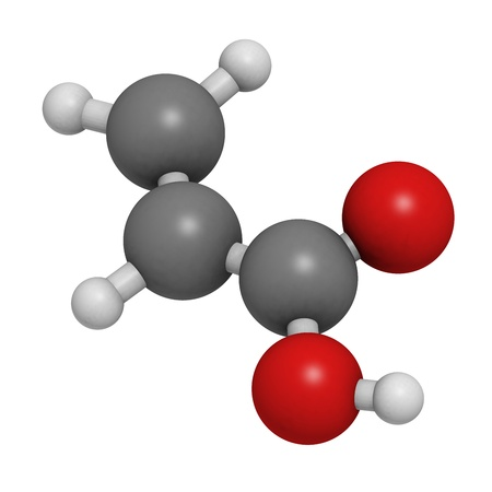 macromolecule: acrylic acid molecule, polyacrylic acid (PAA, carbomer) building block. PAA is used in the production of disposable diapers. Atoms are represented as spheres with conventional color coding: hydrogen (white), carbon (grey), oxygen (red).