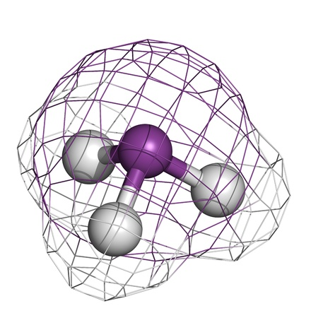 wmd: Arsine toxic gas molecule. Arsine is a volatile arsenic compound. Atoms are represented as spheres with conventional color coding: hydrogen (white), arsenic (purple)