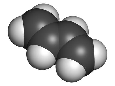 monomer: Butadieno (1,3-butadieno), el bloque de construcci?n de pl?stico ABS y caucho sint?tico polibutadieno. Los ?tomos se representan como esferas con codificaci?n de color convencionales: hidr?geno (blanco), de carbono (gris).