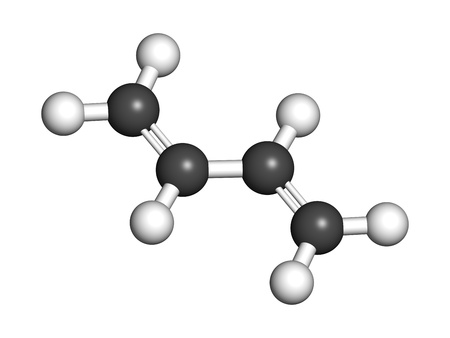 styrene: Butadiene (1,3-butadiene), the building block of ABS plastic and polybutadiene synthetic rubber. Atoms are represented as spheres with conventional color coding: hydrogen (white), carbon (grey). Stock Photo