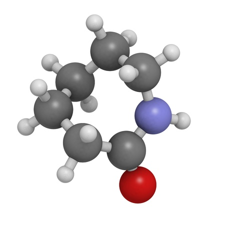 monomer: Caprolactam, the building block of Nylon-6 (polycaprolactam) plastic. Atoms are represented as spheres with conventional color coding: hydrogen (white), carbon (grey), oxygen (red), nitrogen (blue). Stock Photo