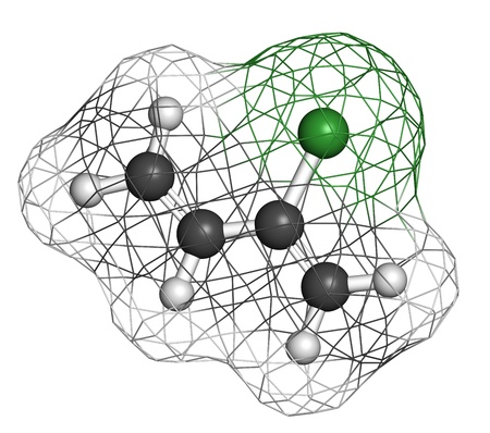 monomer: Chloroprene, the building block of polychloroprene synthetic rubber. Atoms are represented as spheres with conventional color coding: hydrogen (white), carbon (grey), chlorine (green). Wireframe surface. Stock Photo