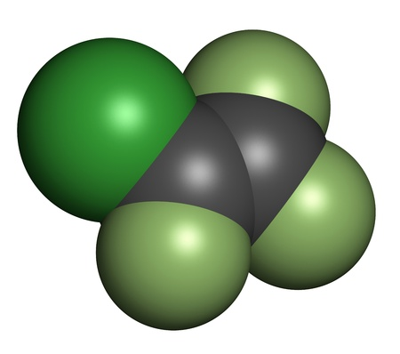 cfc: Chlorotrifluoroethylene (CTFE) refrigerant molecule and polychlorotrifluoroethylene plastic building block. Atoms are represented as spheres with conventional color coding: hydrogen (white), carbon (grey), chlorine (green), fluorine (light green). Stock Photo