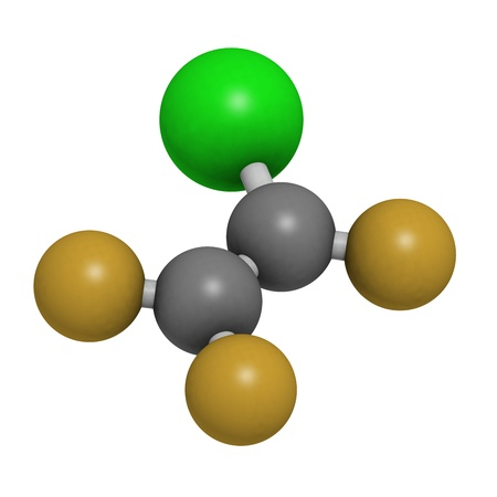 refrigerant: Chlorotrifluoroethylene (CTFE) refrigerant molecule and polychlorotrifluoroethylene plastic building block. Atoms are represented as spheres with conventional color coding: hydrogen (white), carbon (grey), chlorine (green), fluorine (gold).