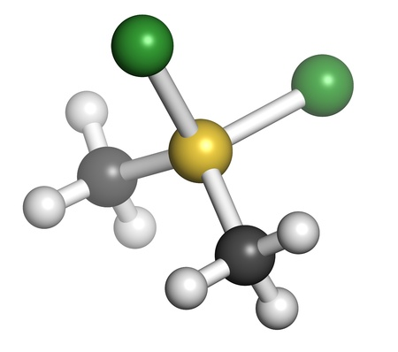 monomer: Dimethyldichlorosilane molecule, the precursor of polydimethylsiloxane (PDMS, silicone). Atoms are represented as spheres with conventional color coding: hydrogen (white), carbon (grey), silicon (yellow), chlorine (green). Stock Photo