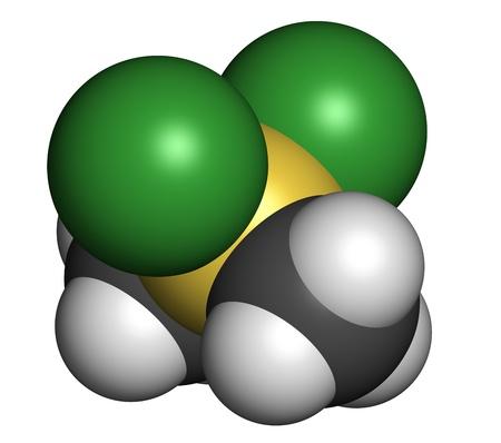 precursor: Dimethyldichlorosilane molecule, the precursor of polydimethylsiloxane (PDMS, silicone). Atoms are represented as spheres with conventional color coding: hydrogen (white), carbon (grey), silicon (yellow), chlorine (green). Stock Photo