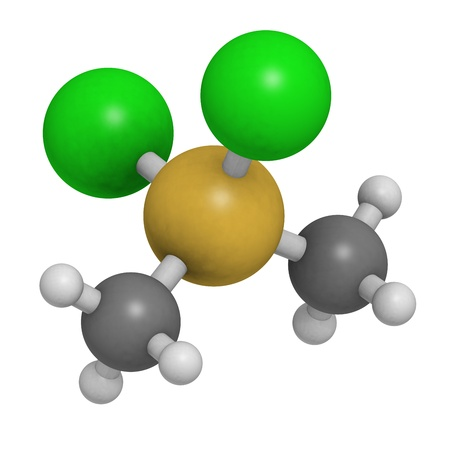 Dimethyldichlorosilane molecule, the precursor of polydimethylsiloxane (PDMS, silicone). Atoms are represented as spheres with conventional color coding: hydrogen (white), carbon (grey), silicon (yellow), chlorine (green). Stock Photo
