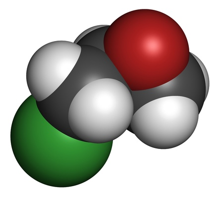 epoxy: epichlorohydrin (ECH) epoxy resin building block. Atoms are represented as spheres with conventional color coding: hydrogen (white), carbon (grey), oxygen (red), chlorine (green).