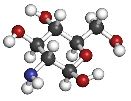 glucosamine: Glucosamine food supplement molecule. Atoms are represented as spheres with conventional color coding: hydrogen (white), carbon (grey), oxygen (red), nitrogen (blue).