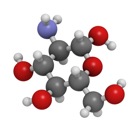 Glucosamine food supplement molecule. Atoms are represented as spheres with conventional color coding: hydrogen (white), carbon (grey), oxygen (red), nitrogen (blue). Stock Photo - 20143799