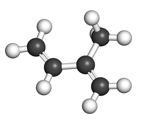 monomer: Isoprene, rubber (polyisoprene) building block (monomer). Atoms are represented as spheres with conventional color coding: hydrogen (white), carbon (grey). Stock Photo