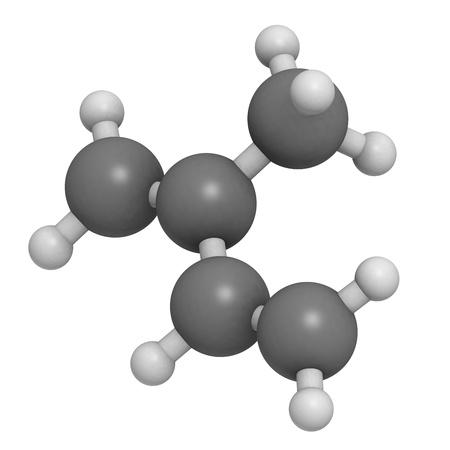 monomer: Isopreno, caucho (poliisopreno) pilar (mon�mero). Los �tomos se representan como esferas con codificaci�n de color convencionales: hidr�geno (blanco), de carbono (gris).