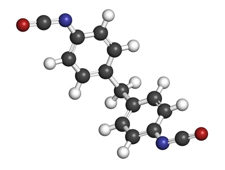 pu: Methylene diphenyl diisocyanate molecule (MDI), polyurethane (PU) building block. Atoms are represented as spheres with conventional color coding: hydrogen (white), carbon (grey), oxygen (red), nitrogen (blue).