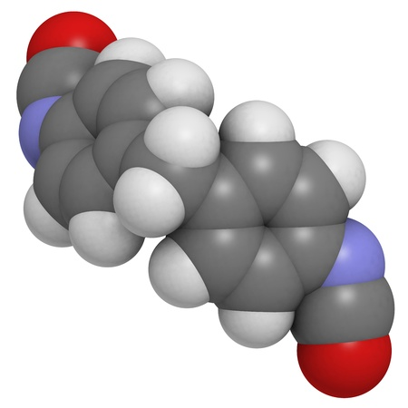 polyurethane: Methylene diphenyl diisocyanate molecule (MDI), polyurethane (PU) building block. Atoms are represented as spheres with conventional color coding: hydrogen (white), carbon (grey), oxygen (red), nitrogen (blue).