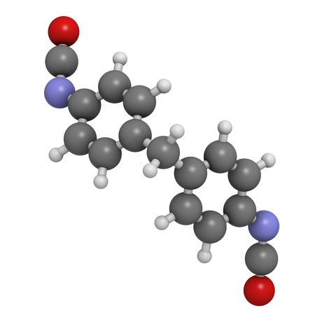 macromolecule: Methylene diphenyl diisocyanate molecule (MDI), polyurethane (PU) building block. Atoms are represented as spheres with conventional color coding: hydrogen (white), carbon (grey), oxygen (red), nitrogen (blue).