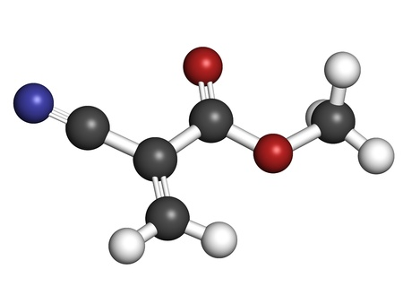methyl: Methyl cyanoacrylate molecule, the main component of cyanoacrylate glues (instant glue). Atoms are represented as spheres with conventional color coding: hydrogen (white), carbon (grey), oxygen (red), nitrogen (blue). Stock Photo