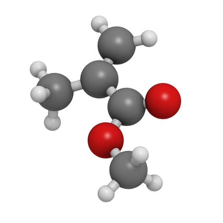 monomer: Methyl methacrylate molecule, poly(methyl methacrylate) or acrylic glass building block. Atoms are represented as spheres with conventional color coding: hydrogen (white), carbon (grey), oxygen (red). Stock Photo