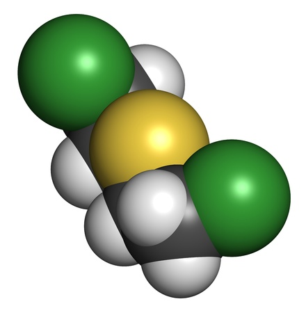 chemical warfare: Mustard gas (Yperite, bis(2-chloroethyl) sulfide) molecule, chemical structure. Mustard gas is a chemical warfare agent. Atoms are represented as spheres with conventional color coding: hydrogen (white), carbon (grey), sulfur (yellow), chlorine (green)