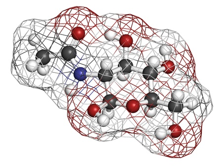 chitin: N-Acetylglucosamine (NAG) food supplement molecule. Atoms are represented as spheres with conventional color coding: hydrogen (white), carbon (grey), oxygen (red), nitrogen (blue). Wireframe surface. Stock Photo