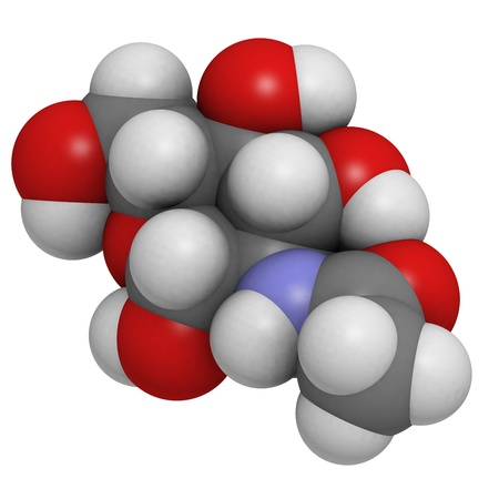 N-Acetylglucosamine (NAG) food supplement molecule. Atoms are represented as spheres with conventional color coding: hydrogen (white), carbon (grey), oxygen (red), nitrogen (blue). Stock Photo - 20143827