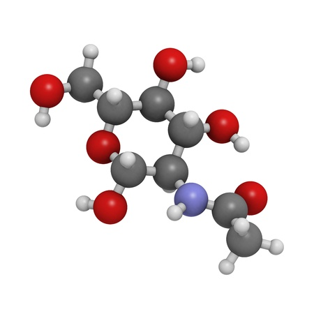 N-Acetylglucosamine (NAG) food supplement molecule. Atoms are represented as spheres with conventional color coding: hydrogen (white), carbon (grey), oxygen (red), nitrogen (blue). Stock Photo