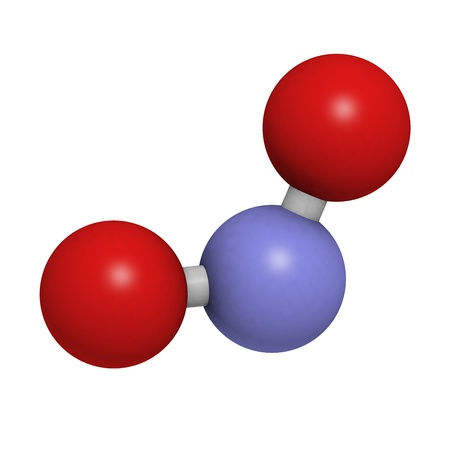 nitrate: Nitrite (NO2-) anion. Nitrite salts are used in the curing of meat. Atoms are represented as spheres with conventional color coding: nitrogen (blue), oxygen (red). Stock Photo