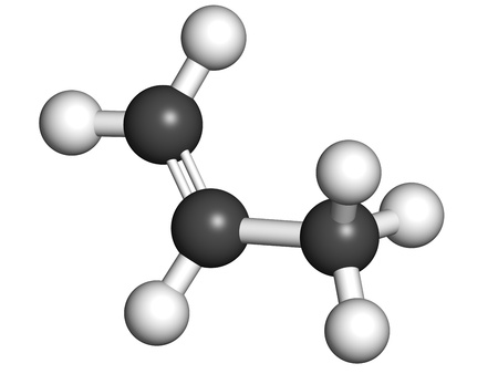 monomer: Propylene (propene), polypropylene (PP, polypropene) plastic building block. Atoms are represented as spheres with conventional color coding: hydrogen (white), carbon (grey).