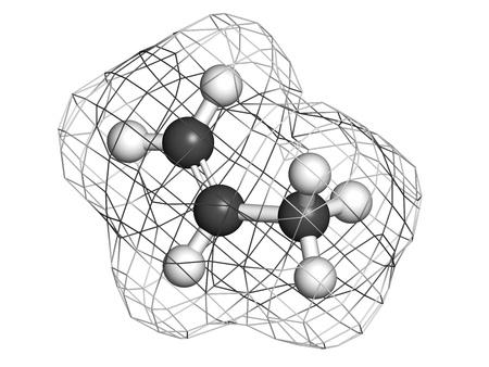 monomer: Propileno (propeno), polipropileno (PP, polipropileno) bloque de construcci�n de pl�stico. Los �tomos se representan como esferas con codificaci�n de color convencionales: hidr�geno (blanco), de carbono (gris). Superficie Wireframe. Foto de archivo