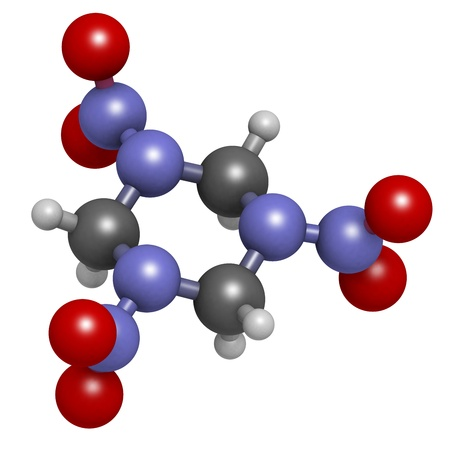 RDX (cyclonite, hexogen) explosive molecule, chemical structure. Atoms are represented as spheres with conventional color coding: hydrogen (white), carbon (grey), oxygen (red), nitrogen (blue) Stock Photo - 20143807