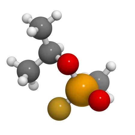 wmd: Sarin nerve agent, molecular model. Sarin is a chemical weapon, classified as a weapon of mass destruction. Atoms are represented as spheres with conventional color coding: hydrogen (white), carbon (grey), oxygen (red), fluorine (gold), phosphorus (orange