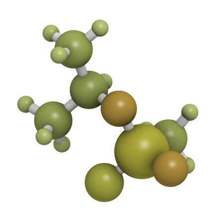 Sarin nerve agent, molecular model. Sarin is a chemical weapon, classified as a weapon of mass destruction. Atoms are represented as spheres with conventional color coding: hydrogen (white), carbon (grey), oxygen (red), fluorine (gold), phosphorus (orange Stock Photo - 20143792