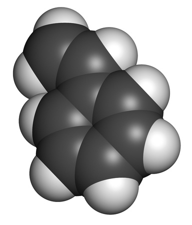 Styrene (vinyl benzene), polystyrene (PS) plastic building block. Atoms are represented as spheres with conventional color coding: hydrogen (white), carbon (grey). Stock Photo