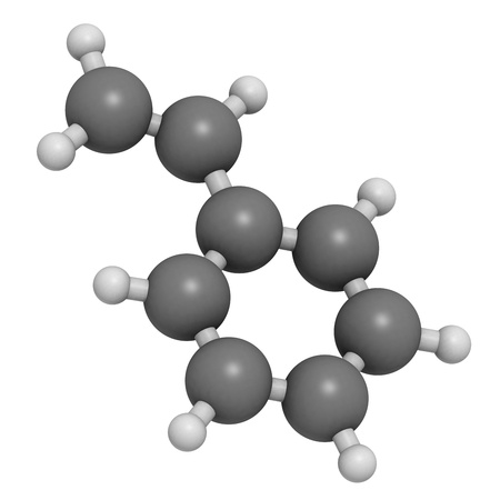 styrene: Styrene (vinyl benzene), polystyrene (PS) plastic building block. Atoms are represented as spheres with conventional color coding: hydrogen (white), carbon (grey). Stock Photo