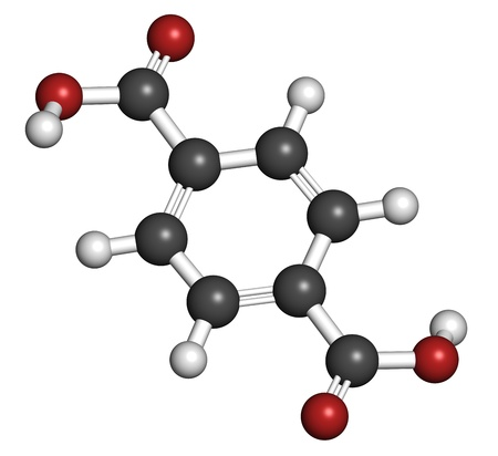 Terephthalic acid, polyester (PET, polyethylene terephthalate) plastic building block. Atoms are represented as spheres with conventional color coding: hydrogen (white), carbon (grey), oxygen (red).