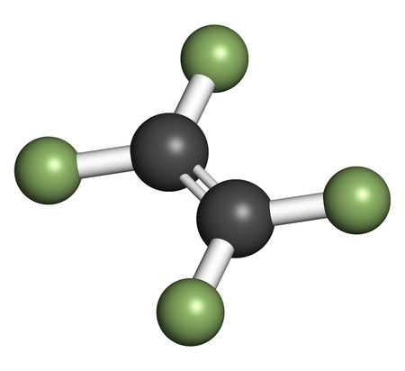 monomer: Tetrafluoroethylene (TFE), polytetrafluoroethylene (PTFE) polymer building block. PTFE is used in non-stick coating for cookware and as a lubricant. Atoms are represented as spheres with conventional color coding: carbon (grey), fluorine (green).
