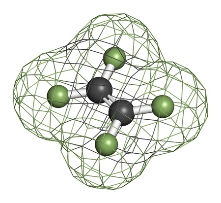 macromolecule: Tetrafluoroethylene (TFE), polytetrafluoroethylene (PTFE) polymer building block. PTFE is used in non-stick coating for cookware and as a lubricant. Atoms are represented as spheres with conventional color coding: carbon (grey), fluorine (green). Wirefram