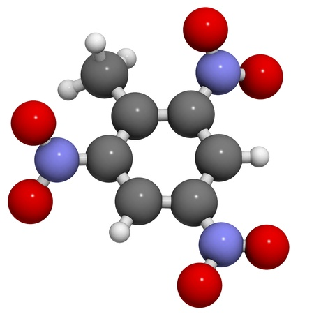 Trinitrotoluene (TNT) explosive molecule, chemical structure. Atoms are represented as spheres with conventional color coding: hydrogen (white), carbon (grey), oxygen (red), nitrogen (blue) Stock Photo - 20143828