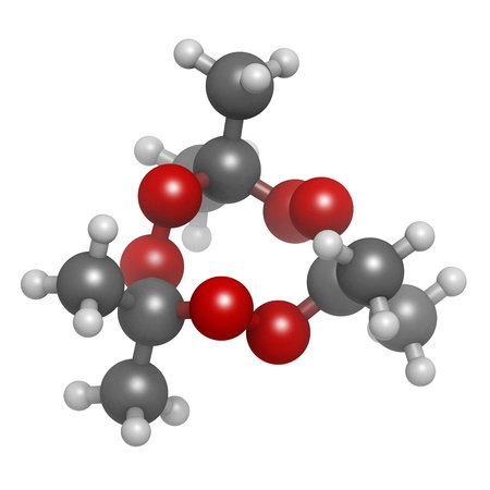 Acetone peroxide (triacetone peroxide, TATP) explosive molecule, chemical structure. Atoms are represented as spheres with conventional color coding: hydrogen (white), carbon (grey), oxygen (red) Stock Photo - 20143798