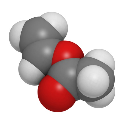 pva: Vinyl acetate, polyvinyl acetate (PVA, PVAc) glue building block. PVA is used in a number of glue types. Atoms are represented as spheres with conventional color coding: hydrogen (white), carbon (grey), oxygen (red). Stock Photo