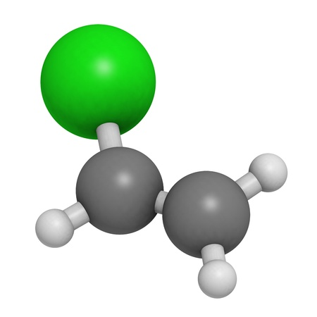 monomer: Vinyl chloride, polyvinyl chloride (PVC) plastic building block. Atoms are represented as spheres with conventional color coding: hydrogen (white), carbon (grey), chlorine (green).