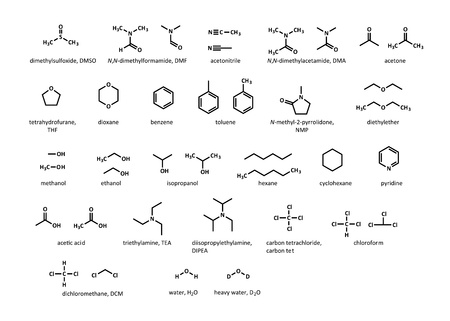 Common organic solvents  DMSO, DMF, acetone, THF, dioxane, benzene, toluene, ether, methanol, hexane, cyclohexane, pyridine, acetic acid, carbon tetrachloride, chloroform, dichloromethane, water Stock Vector - 20911267