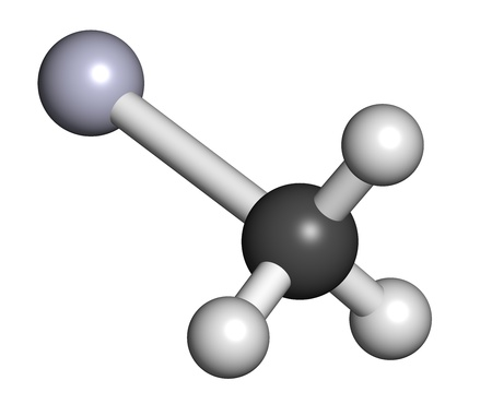 pollutant: Methylmercury cation environmental pollutant, chemical structure Stock Photo