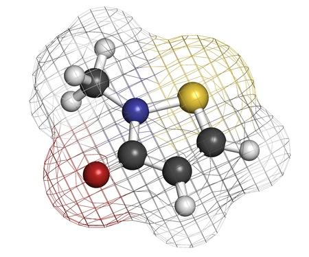 mit: Methylisothiazolinone (MIT, MI) preservative molecule, chemical structure