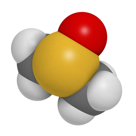 readily: dimethylsulfoxide (DMSO) molecule, chemical structure. DMSO is a chemical solvent that readily penetrates the skin.  Stock Photo